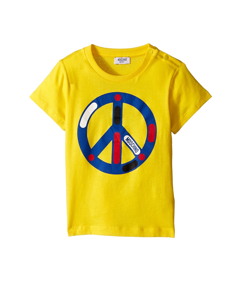 Moschino Kids - Peace Sign Graphic Short Sleeve Tee (Infant/Toddler) (Yellow) Boy's T Shirt