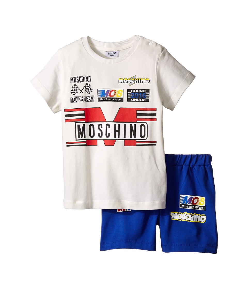 Moschino Kids - Short Sleeve Logo T-Shirt Bermuda Set (Infant/Toddler) (White) Boy's Active Sets