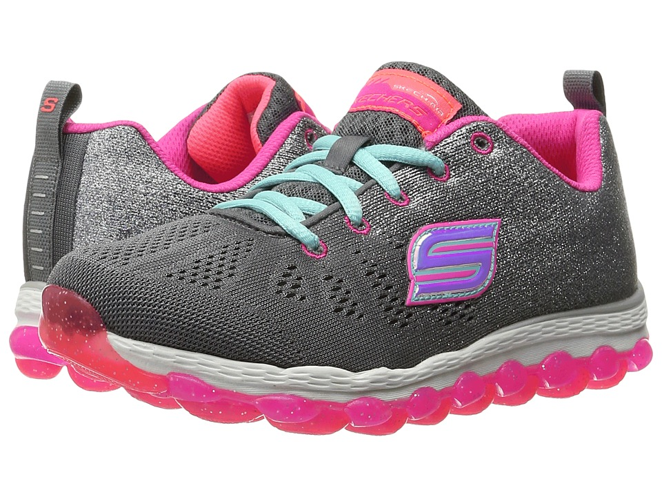 SKECHERS KIDS - Skech Air Ultra 80035L (Little Kid/Big Kid) (Charcoal/Neon Pink) Girl's Shoes