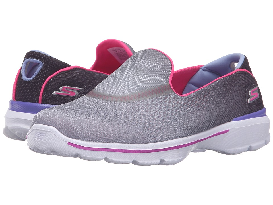 SKECHERS KIDS - GO Walk 3 81072L (Little Kid/Big Kid) (Black/Hot Pink) Girl's Shoes