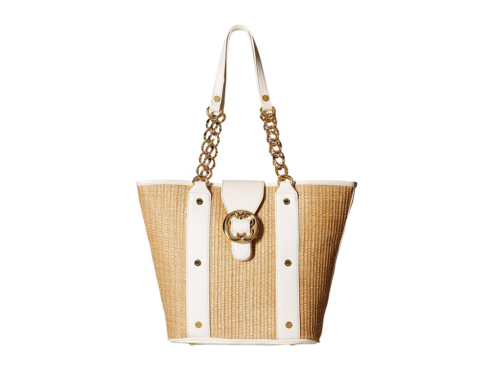 Emma Fox - Glenham Straw Tote (White/Natural) Tote Handbags