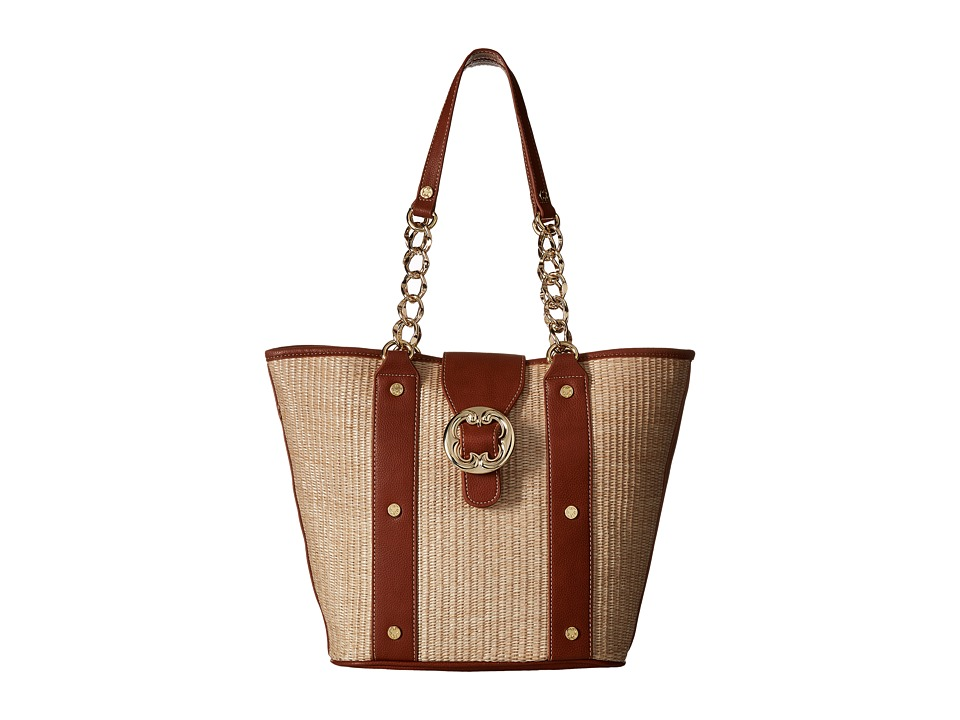 Emma Fox - Glenham Straw Tote (Saddle/Natural) Tote Handbags