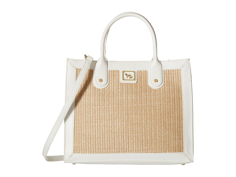 Emma Fox - Glenham Straw Boxy Tote (White/Natural) Tote Handbags