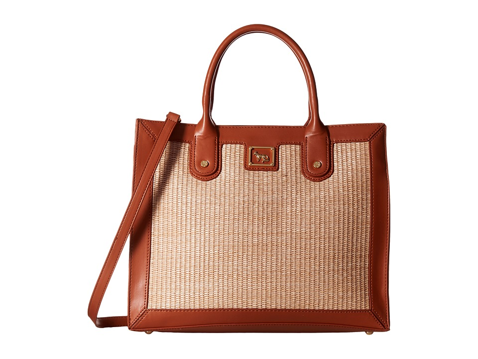 Emma Fox - Glenham Straw Boxy Tote (Saddle/Natural) Tote Handbags