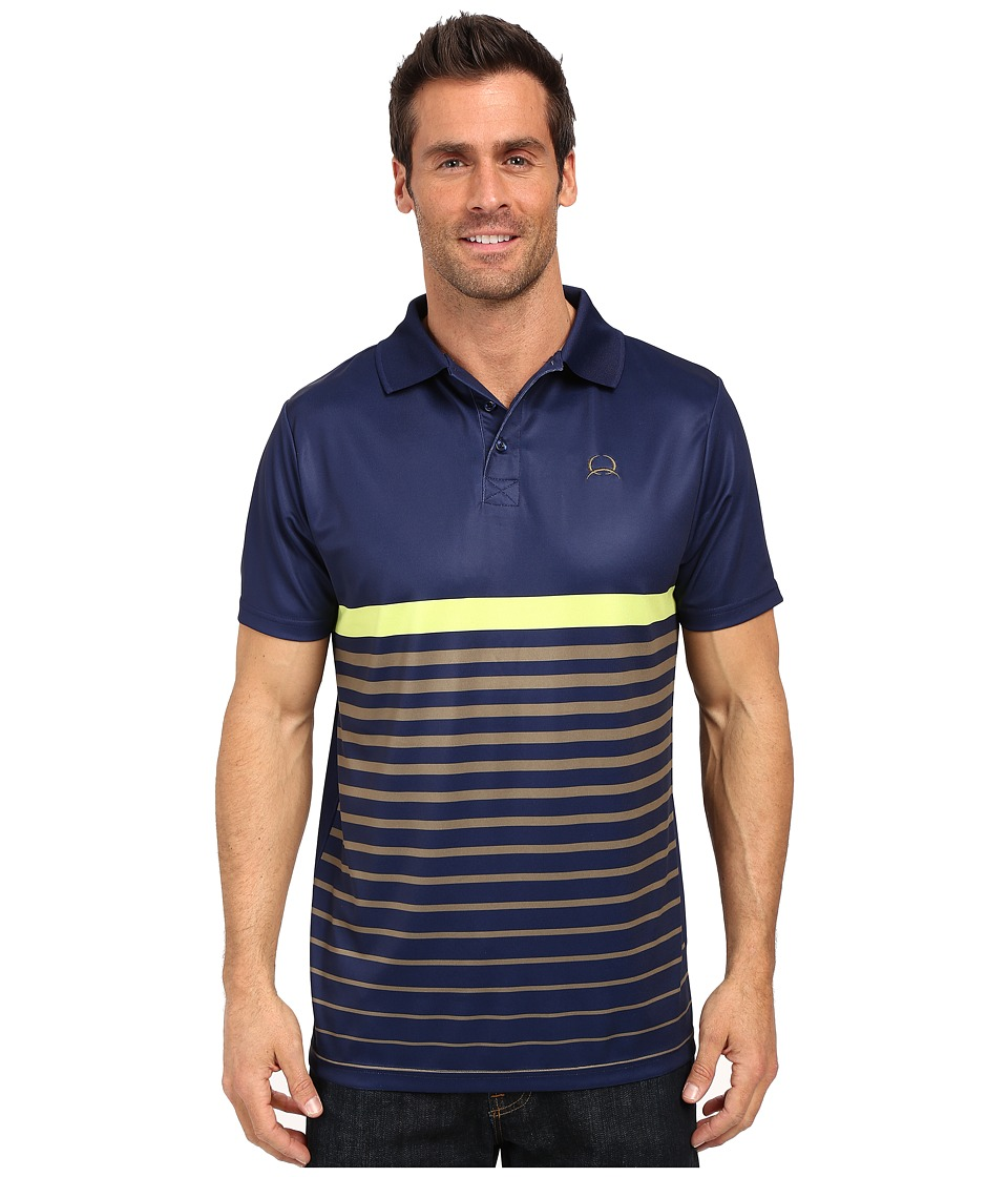 Cinch - Athletic Tech Polo Striped (Navy) Men's Short Sleeve Pullover