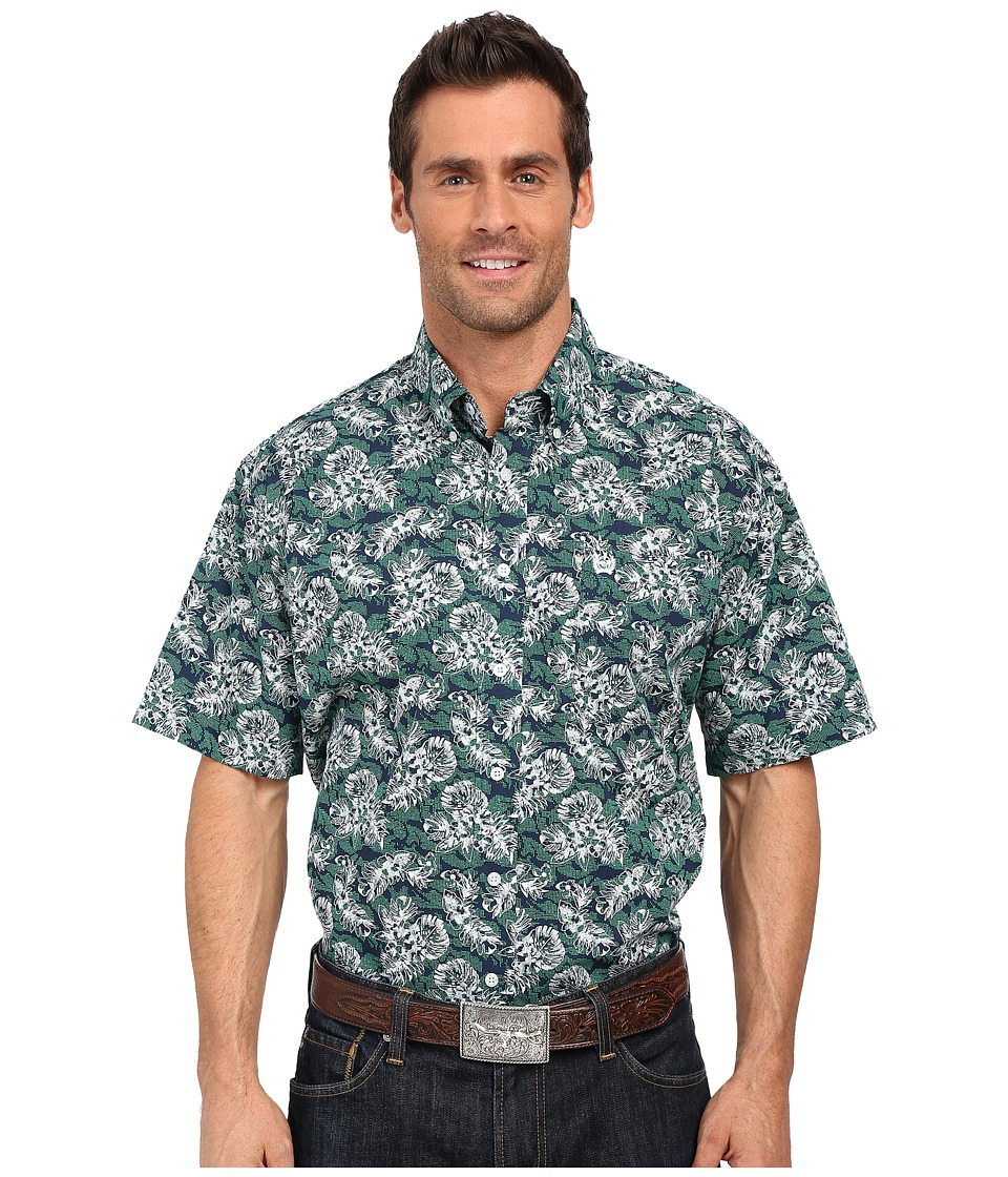 Cinch - Short Sleeve Print (Navy) Men's Short Sleeve Button Up