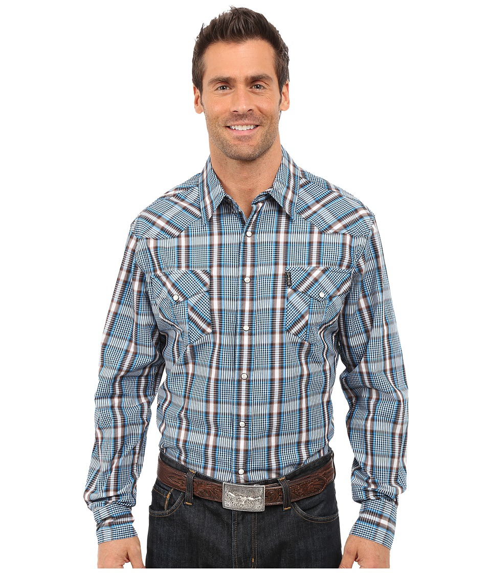 Cinch - Modern Fit Western Plain (Blue) Men's Long Sleeve Button Up