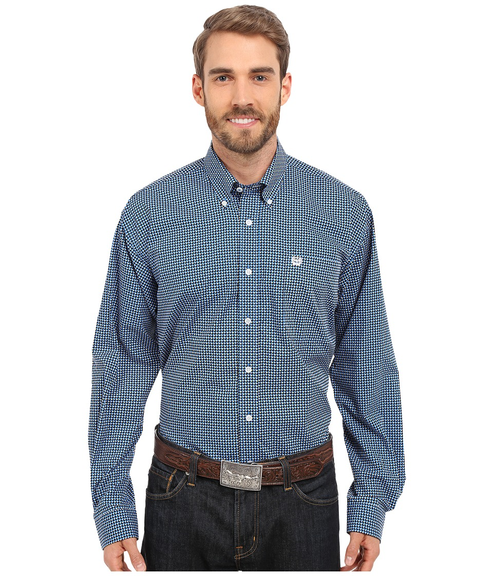 Cinch - Long Sleeve Plain Weave Print (Blue) Men's Long Sleeve Button Up
