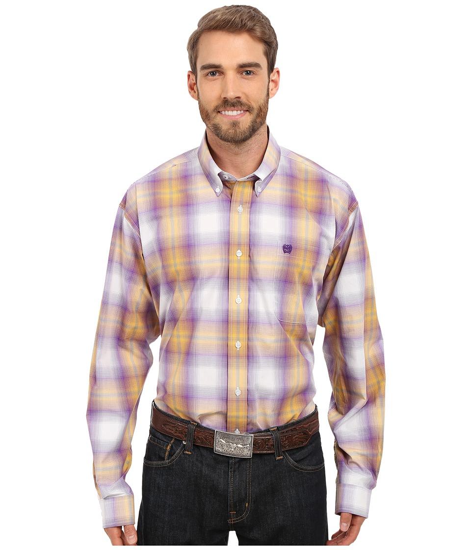 Cinch - Long Sleeve Plain Weave Plaid (White) Men's Long Sleeve Button Up
