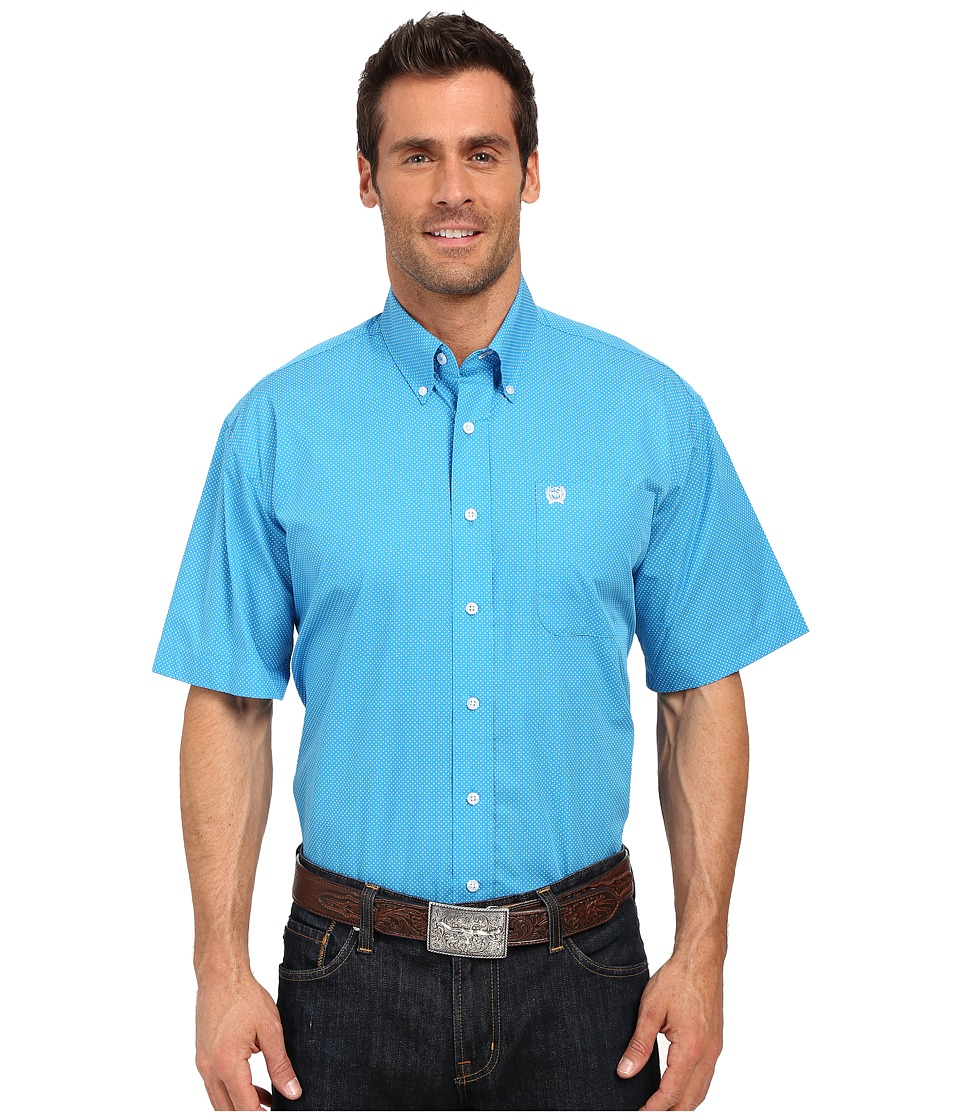 Cinch - Short Sleeve Print (Blue) Men's Short Sleeve Button Up