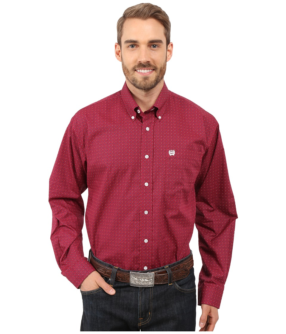 Cinch - Long Sleeve Plain Weave Print (Pink) Men's Long Sleeve Button Up