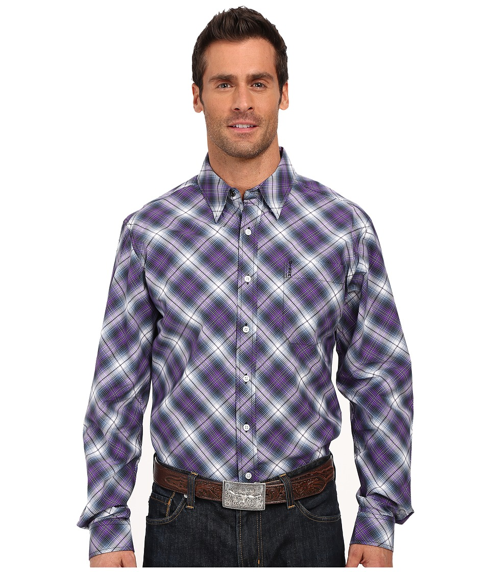 Cinch - Modern Fit Basic Plain (Purple) Men's Long Sleeve Button Up