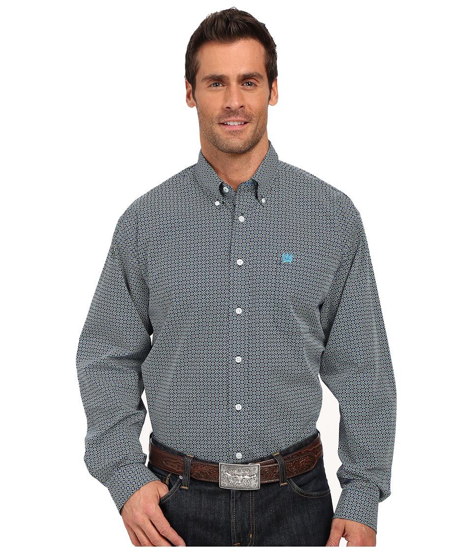 Cinch - Long Sleeve Plain Weave Print (Navy) Men's Long Sleeve Button Up