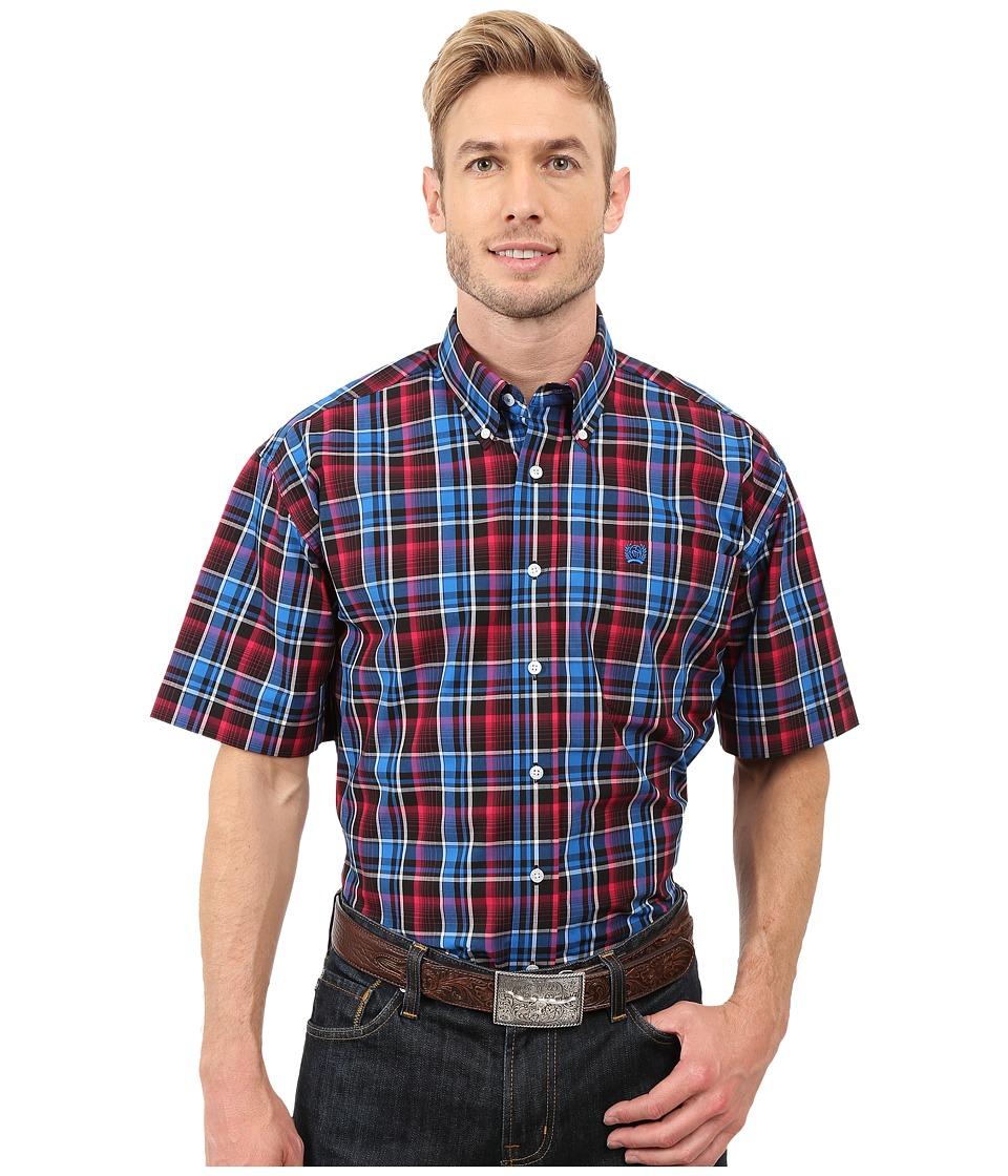 Cinch - Short Sleeve Plain Weave Plaid (Black) Men's Short Sleeve Button Up