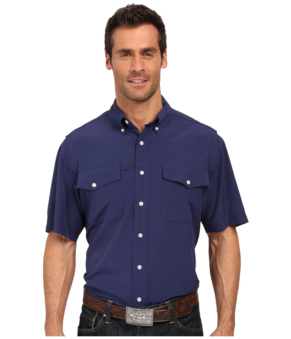 Cinch - Athletic Solid Double Pocket Shirt (Navy) Men's Long Sleeve Button Up