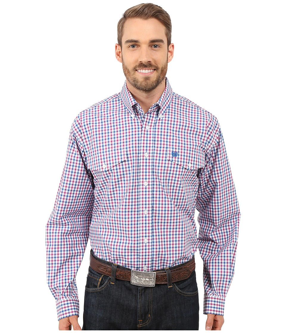 Cinch - Long Sleeve Plain Weave Plaid Double Pocket (White) Men's Long Sleeve Button Up