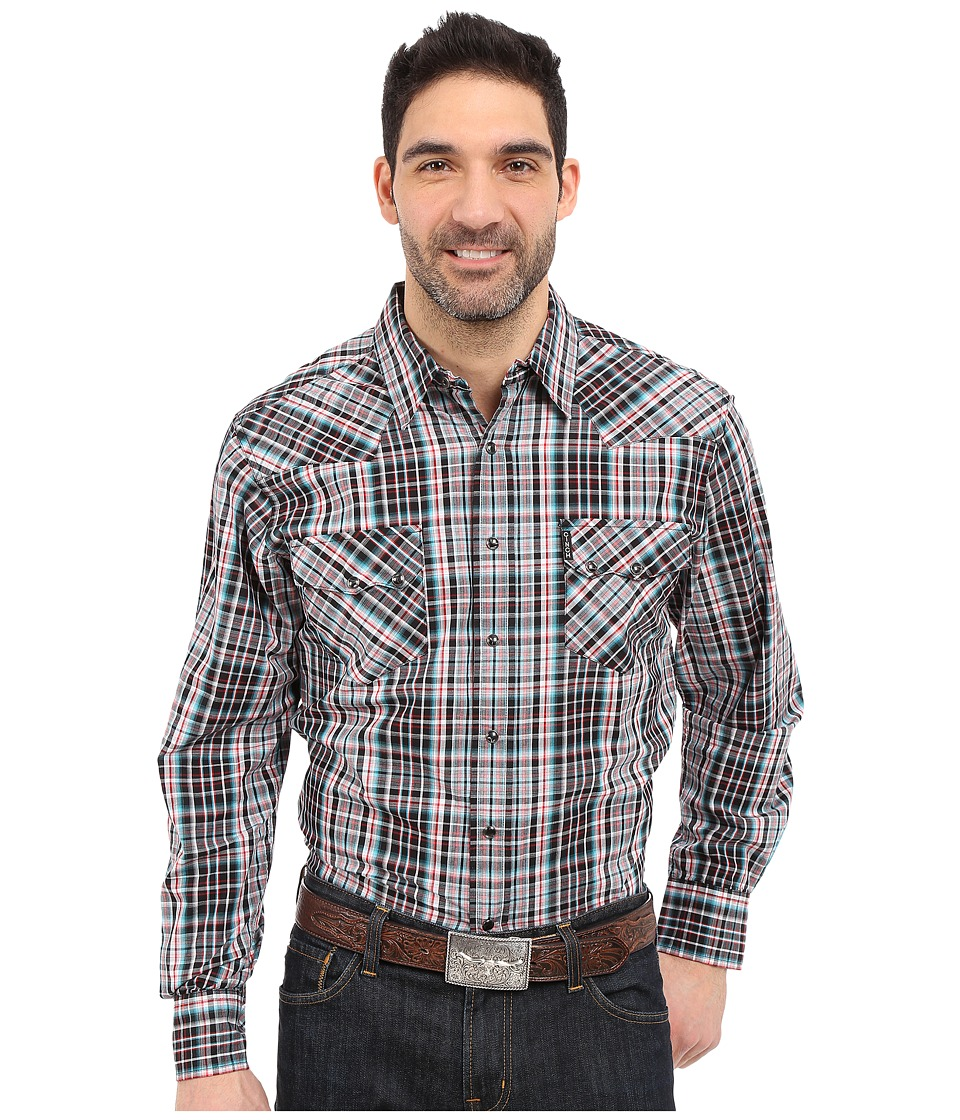 Cinch - Modern Fit Western Plain (Black) Men's Long Sleeve Button Up