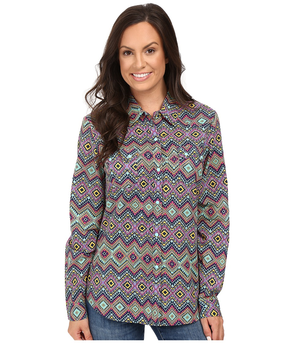 Roper - 0448 Aztec Print Retro Shirt (Blue) Women's Clothing