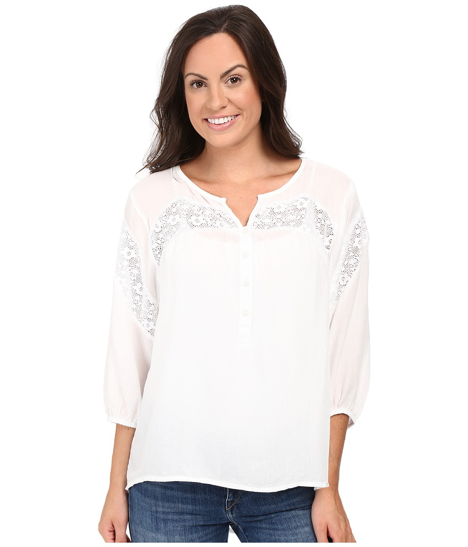 Roper - 0503 Rayon Peasant Blouse w/ Lace Trim (White) Women's Blouse