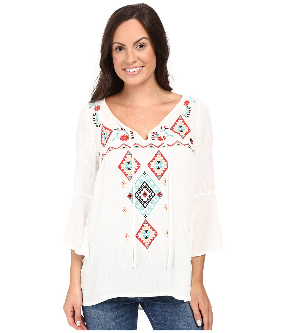 Roper - 0445 Crepe Peasant Top (White) Women's Clothing