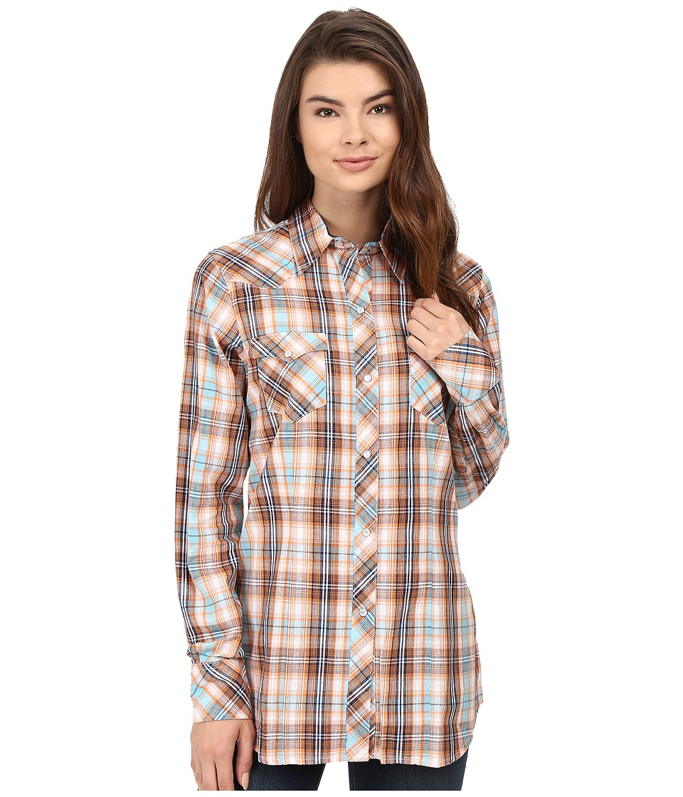 Roper - 0433 Central Dobby Plaid (Orange) Women's Clothing