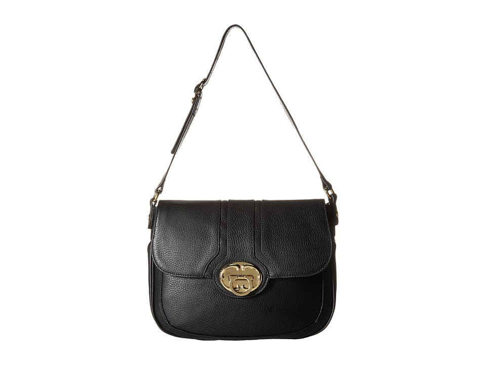 Emma Fox - Harrow Large Flap (Black) Shoulder Handbags