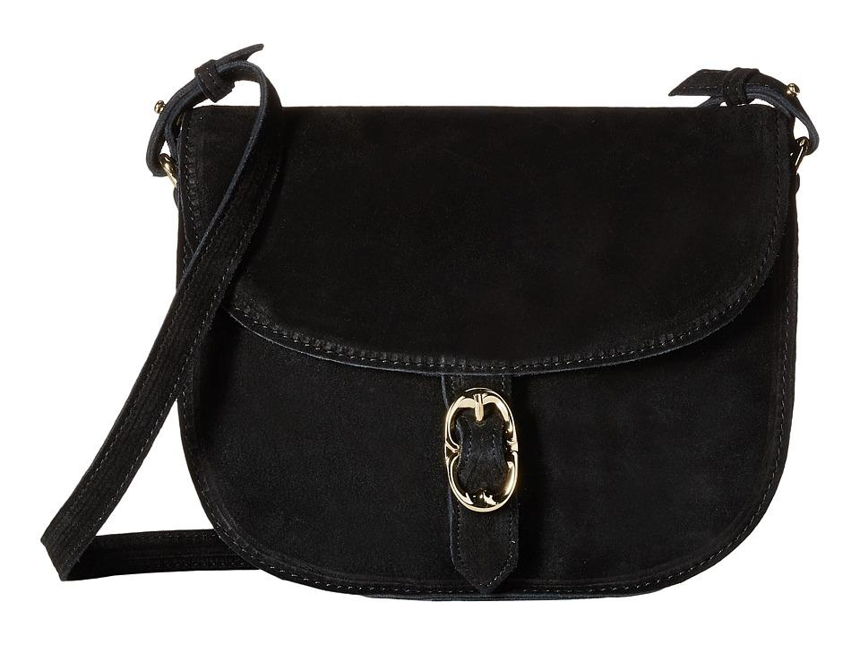 Emma Fox - Dales Suede Flap Crossbody (Black) Cross Body Handbags