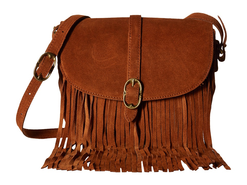 Emma Fox - Pollux Suede Fringe Crossbody (Cognac) Cross Body Handbags