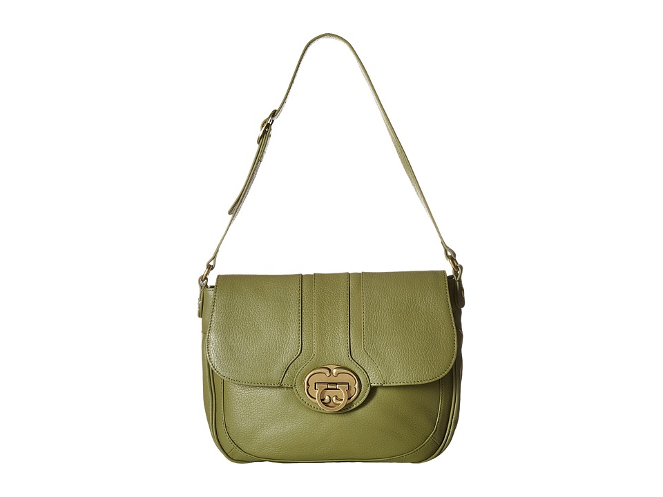 Emma Fox - Harrow Large Flap (Olive) Shoulder Handbags