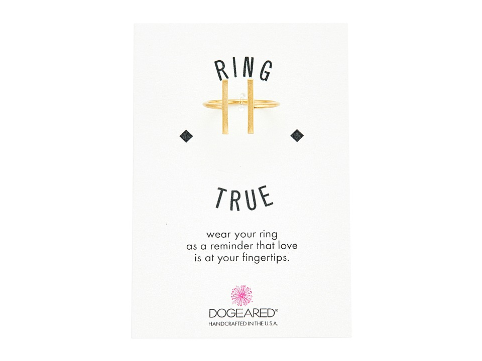 Dogeared - Double Vertical Bar Open Ring (Gold Dipped) Ring