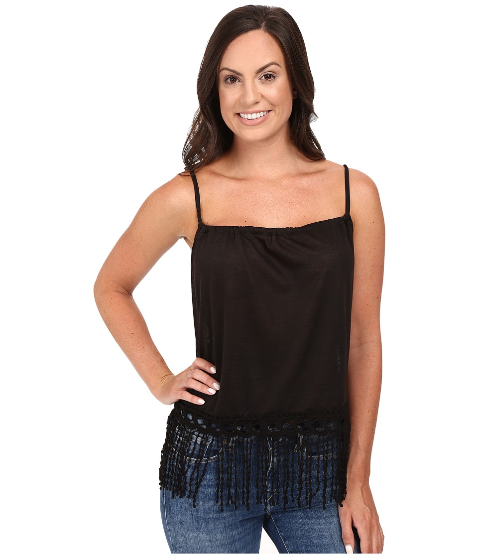 Roper - 0427 Poly Slub Jersey Crop Halter Tank Top (Black) Women's Sleeveless