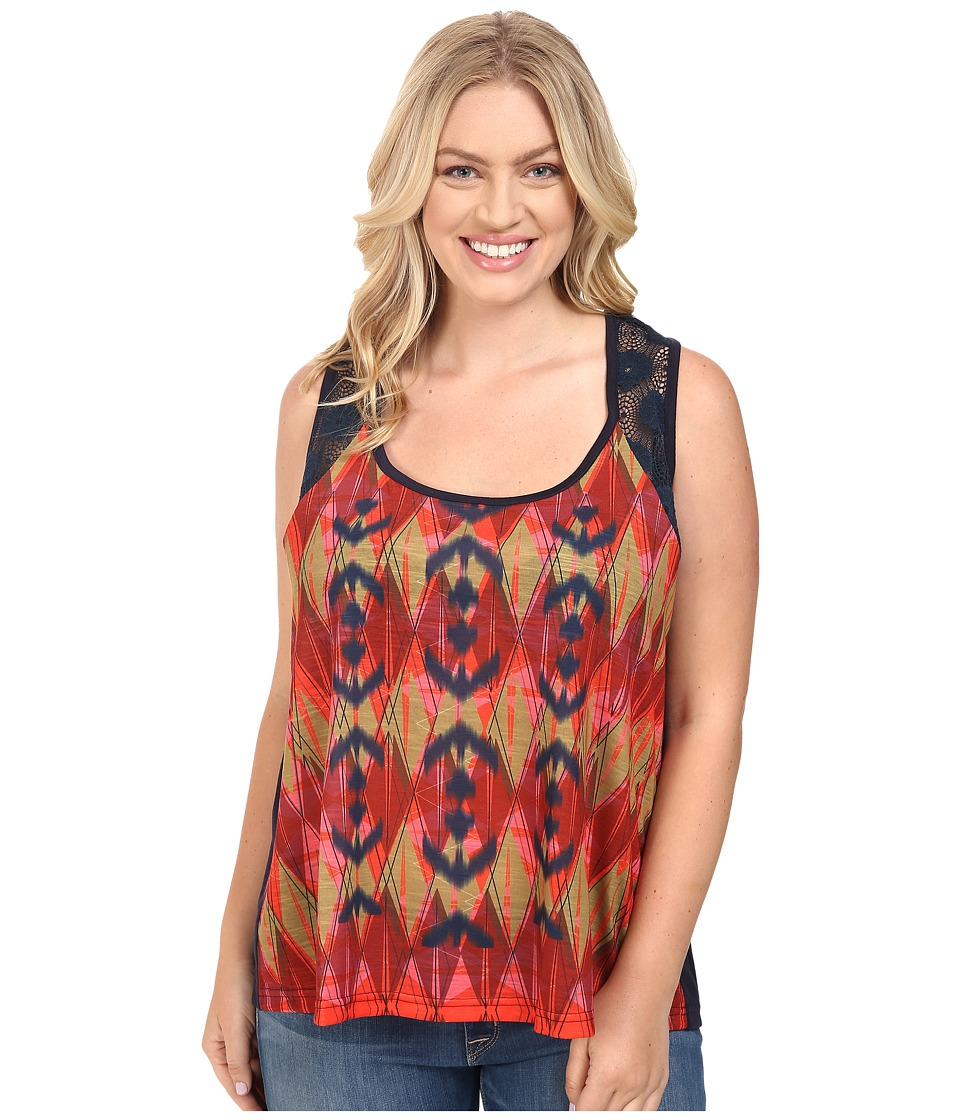 Roper - Plus Size 0427 Poly Slub Jersey Tank Top (Blue) Women's Sleeveless