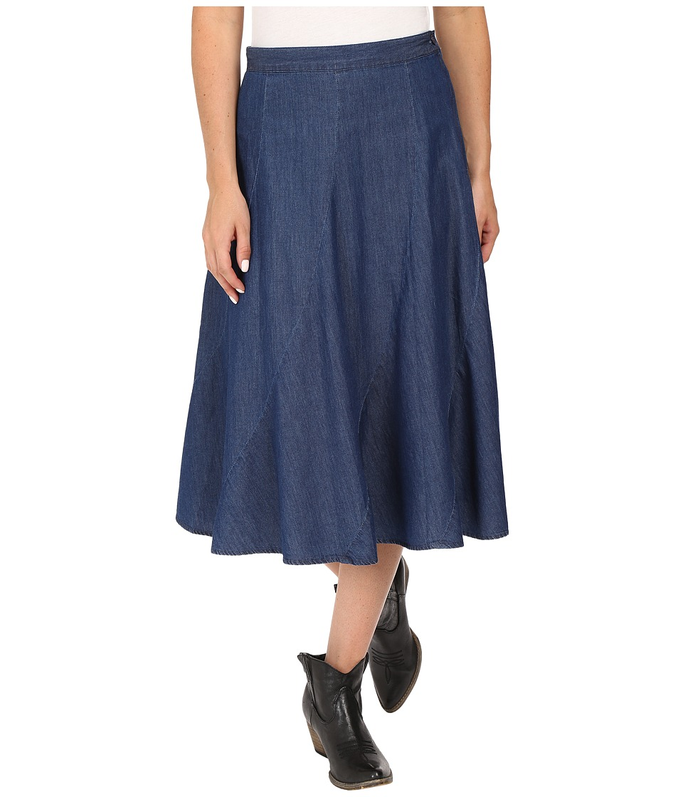 Roper - 0425 5 OZ Denim Gored Midi Length Skirt (Blue) Women's Skirt