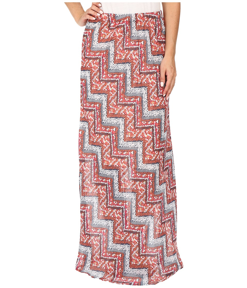 Roper - 0447 Floral Chevron Printed Georgette Skirt (Orange) Women's Skirt