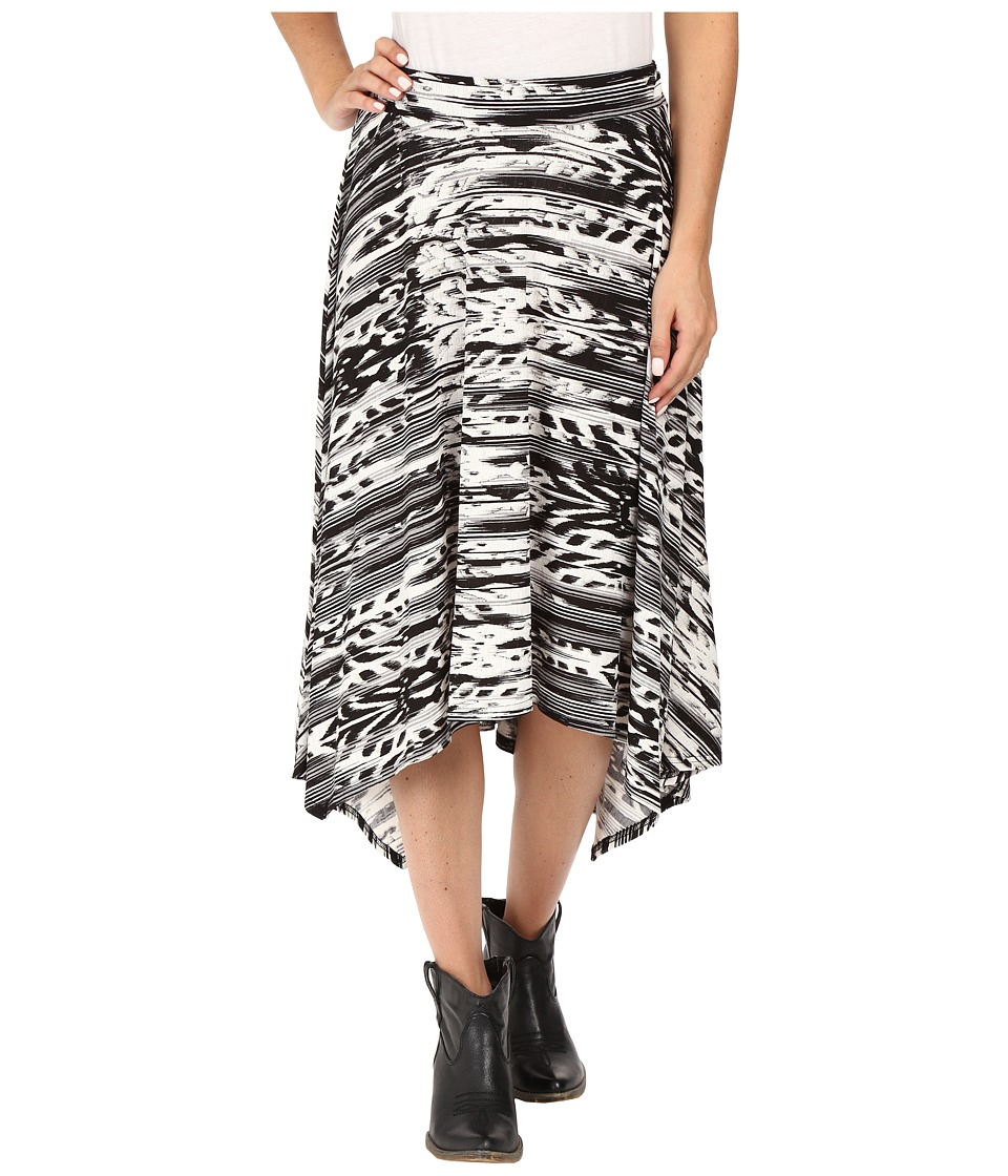 Roper - 0431 Feather Ikat Printed Jersey Skirt (Black) Women's Skirt