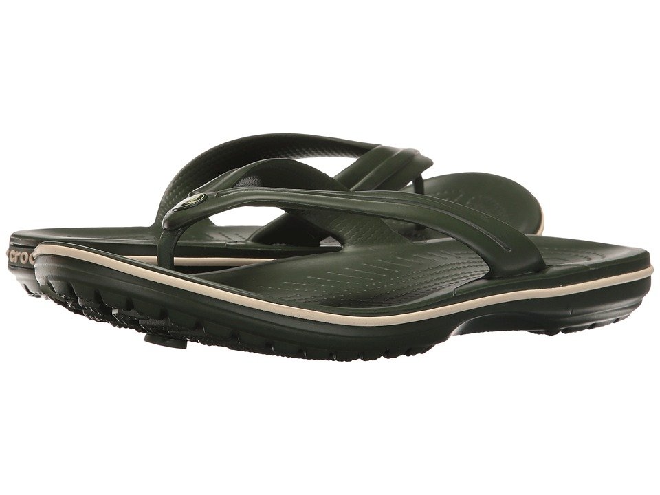 Crocs - Crocband Flip (Forest Green/Stucco) Shoes