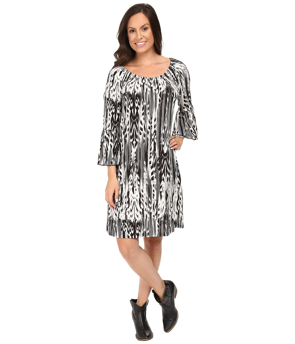 Roper - 0431 Feather Ikat Printed Jersey Dress (Black) Women's Dress