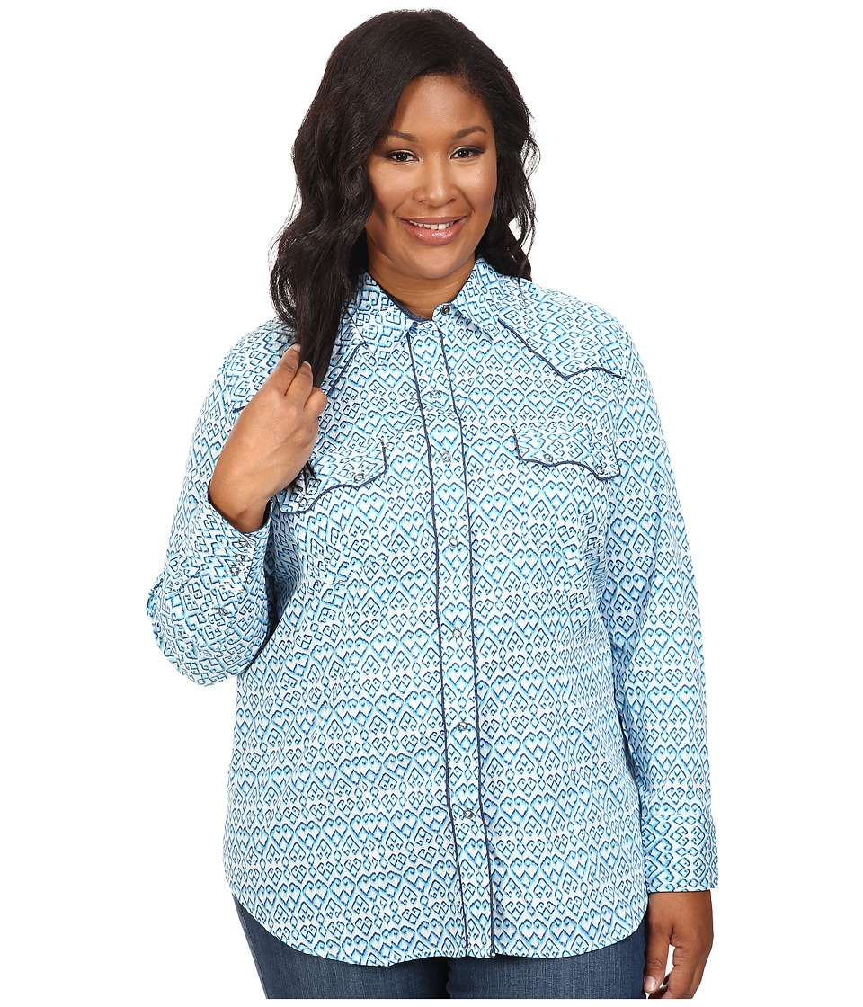 Roper - Plus Size 0442 Mini Ikat Print (Blue) Women's Clothing