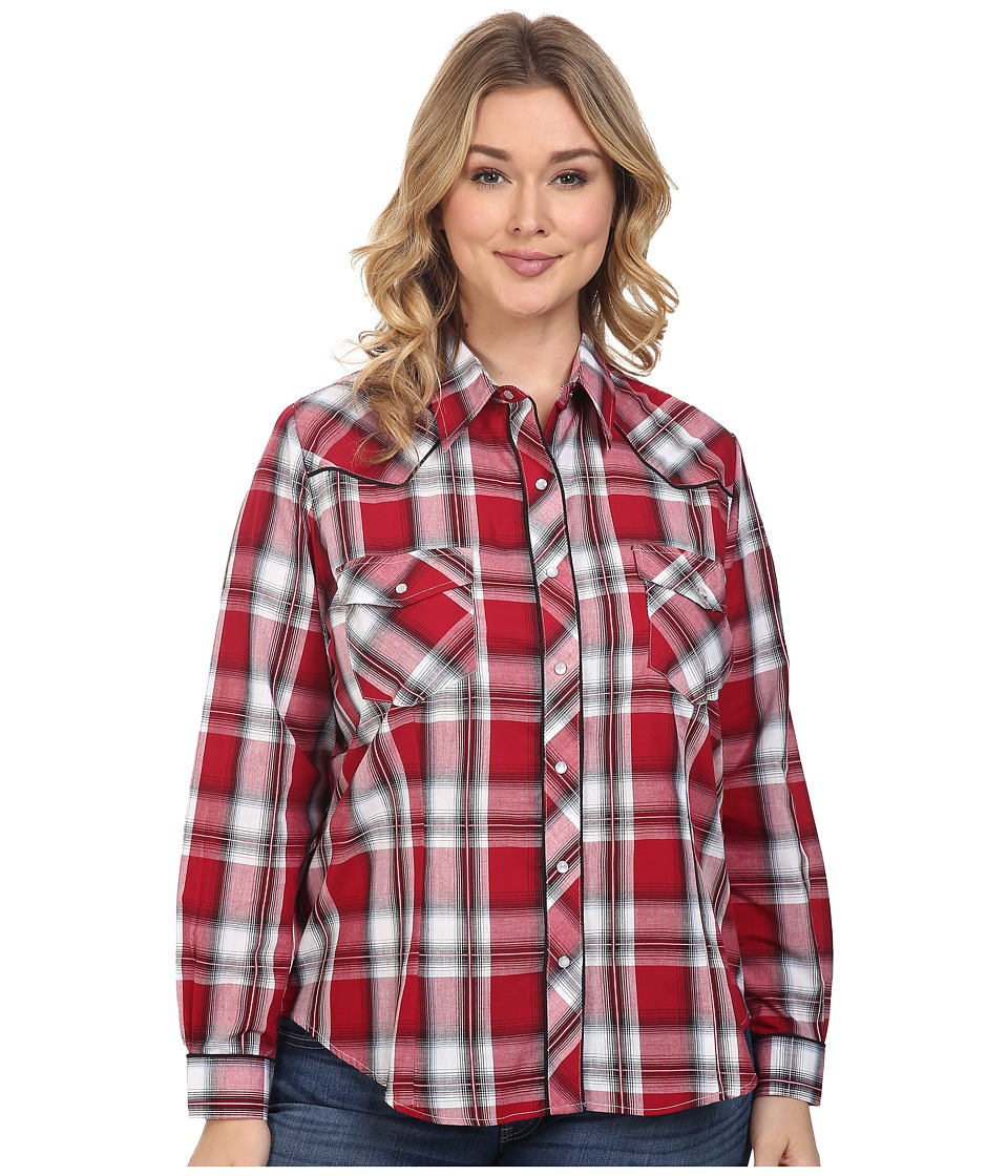 Roper - Plus Size 0379 Red Black Plaid (Red) Women's Clothing