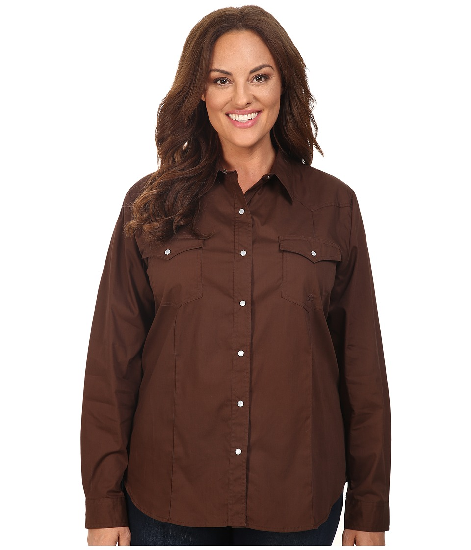Roper - Plus Size 0466 Solid Poplin - Chocolate (Brown) Women's Clothing