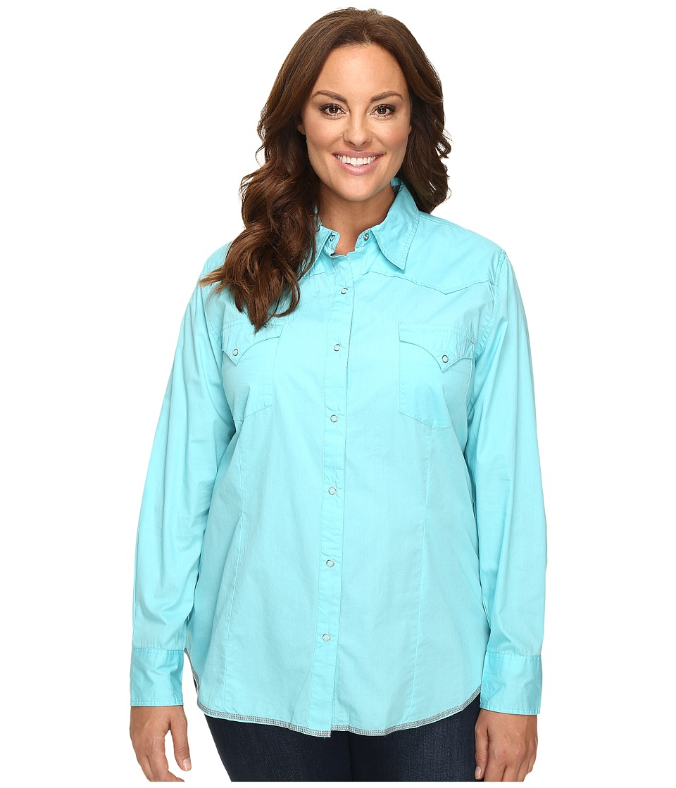 Roper - Plus Size 00456 Solid Poplin - Aqua (Blue) Women's Clothing