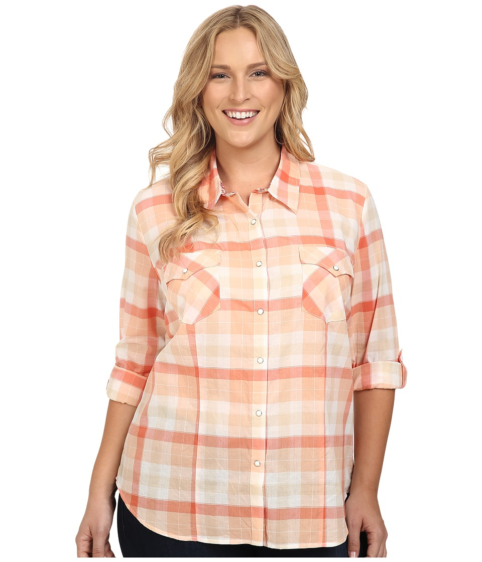 Roper - Plus Size 0422 Tangerine Plaid (Orange) Women's Clothing