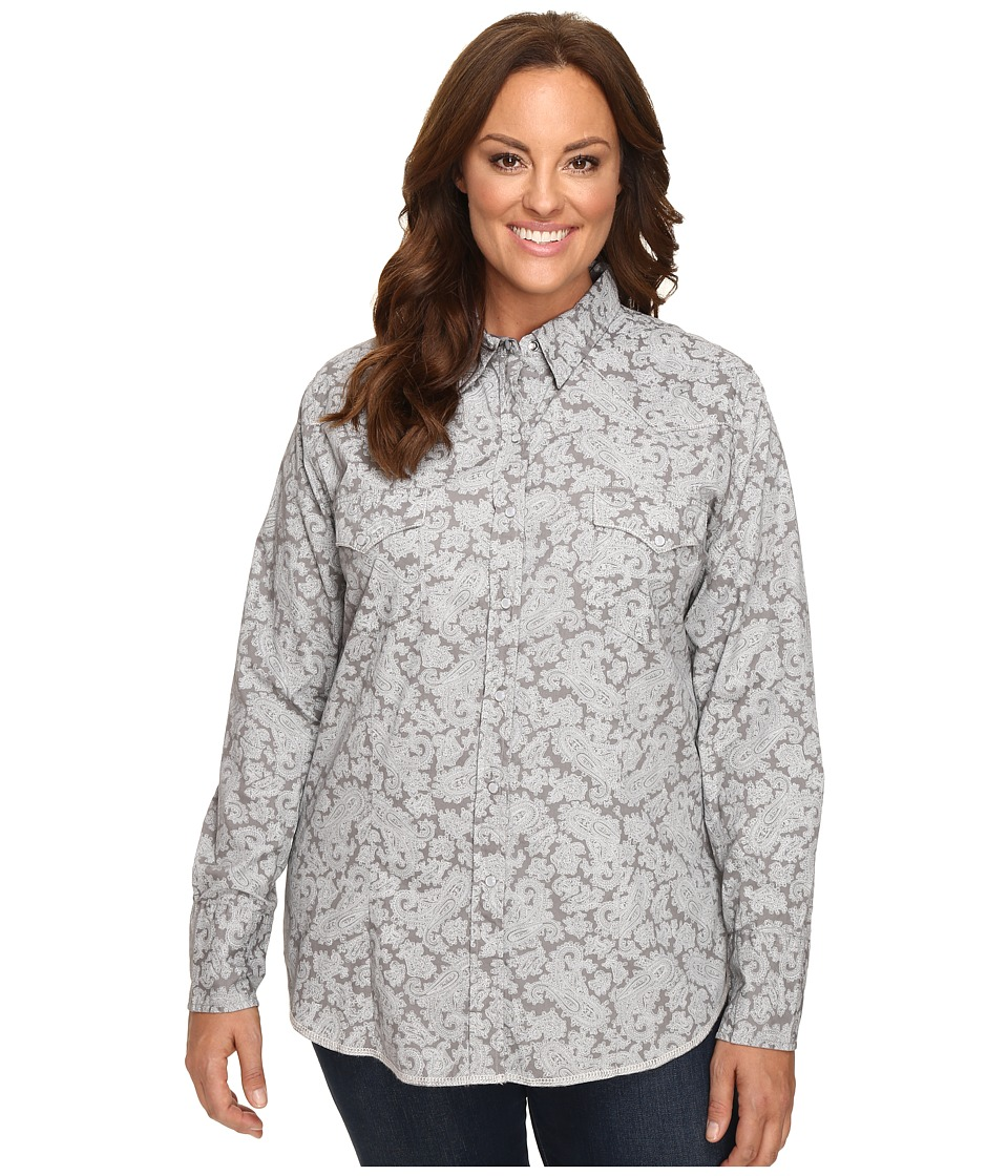 Roper - Plus Size 0440 Regal Line Paisley (Grey) Women's Clothing