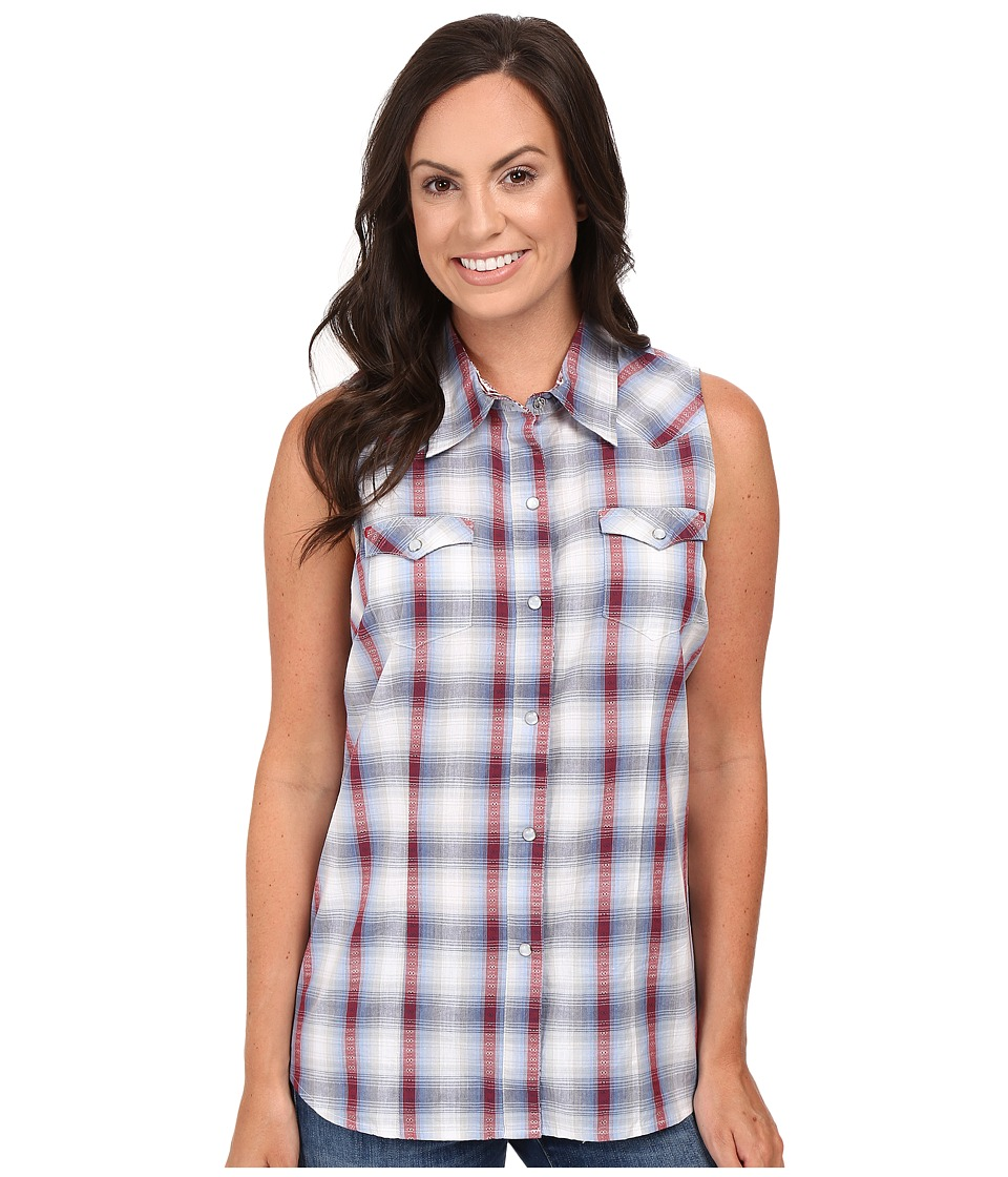 Roper - 0436 Sunset Dobby Plaid (Blue) Women's Sleeveless