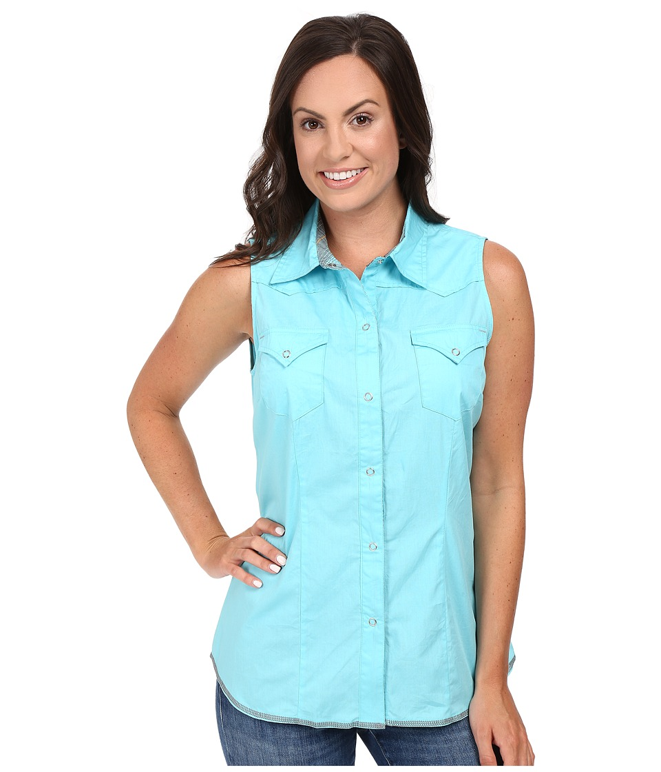 Roper - 00456 Solid Poplin - Aqua (Blue) Women's Sleeveless