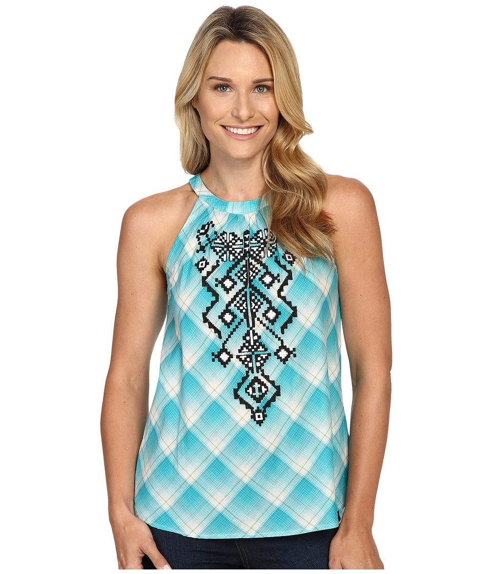 Roper - 0423 Ombre Plaid Halter Neck Top (Blue) Women's Sleeveless