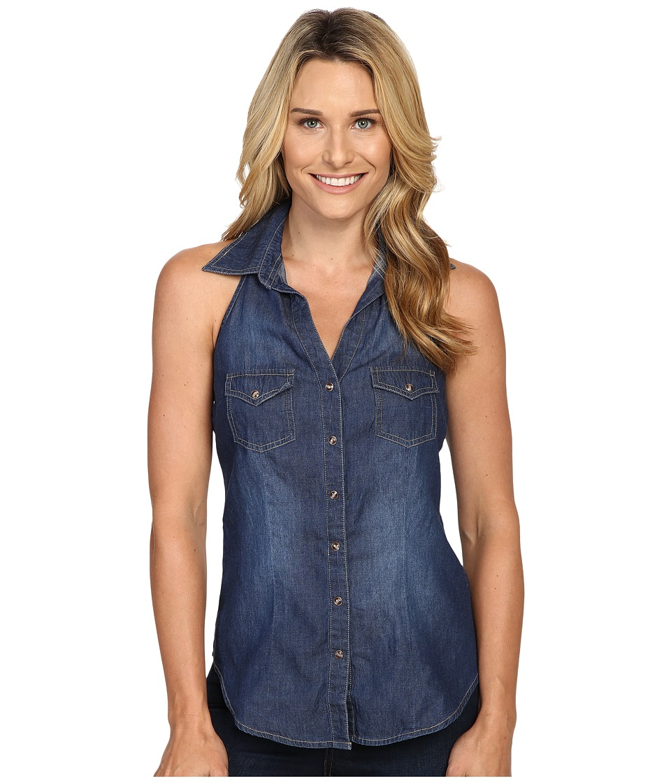 Roper - 0425 5 OZ Denim Halter Top (Blue) Women's Sleeveless