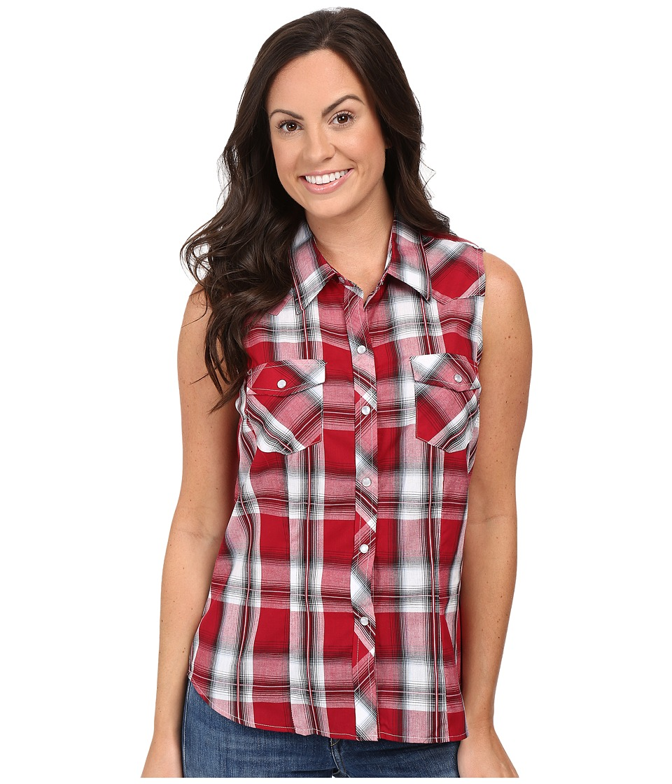 Roper - 0379 Red Black Plaid (Red) Women's Sleeveless