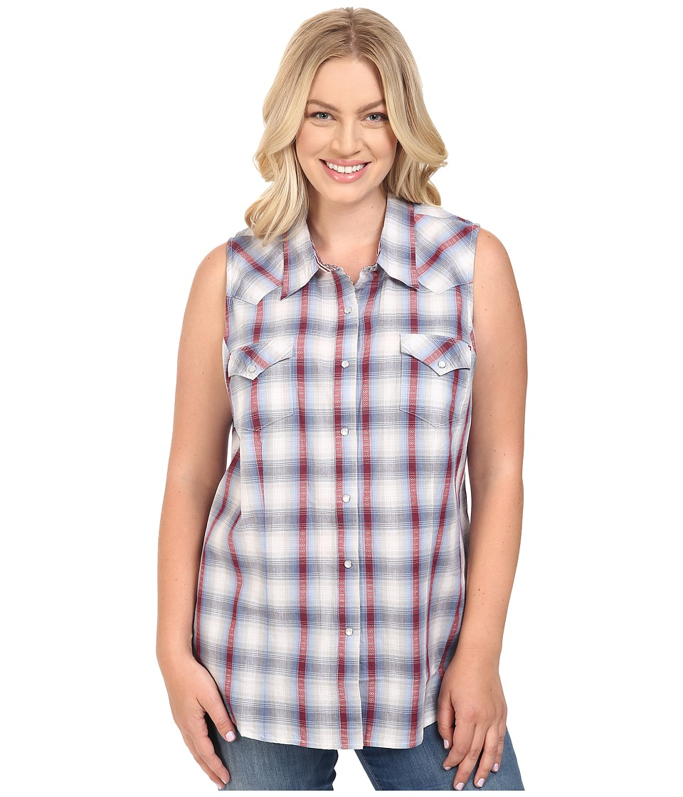 Roper - Plus Size 0436 Sunset Dobby Plaid (Blue) Women's Sleeveless