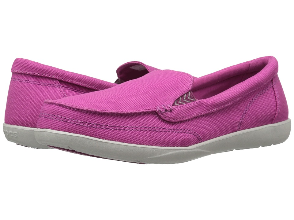 Crocs - Walu II Canvas Loafer (Berry) Women's Slip on Shoes